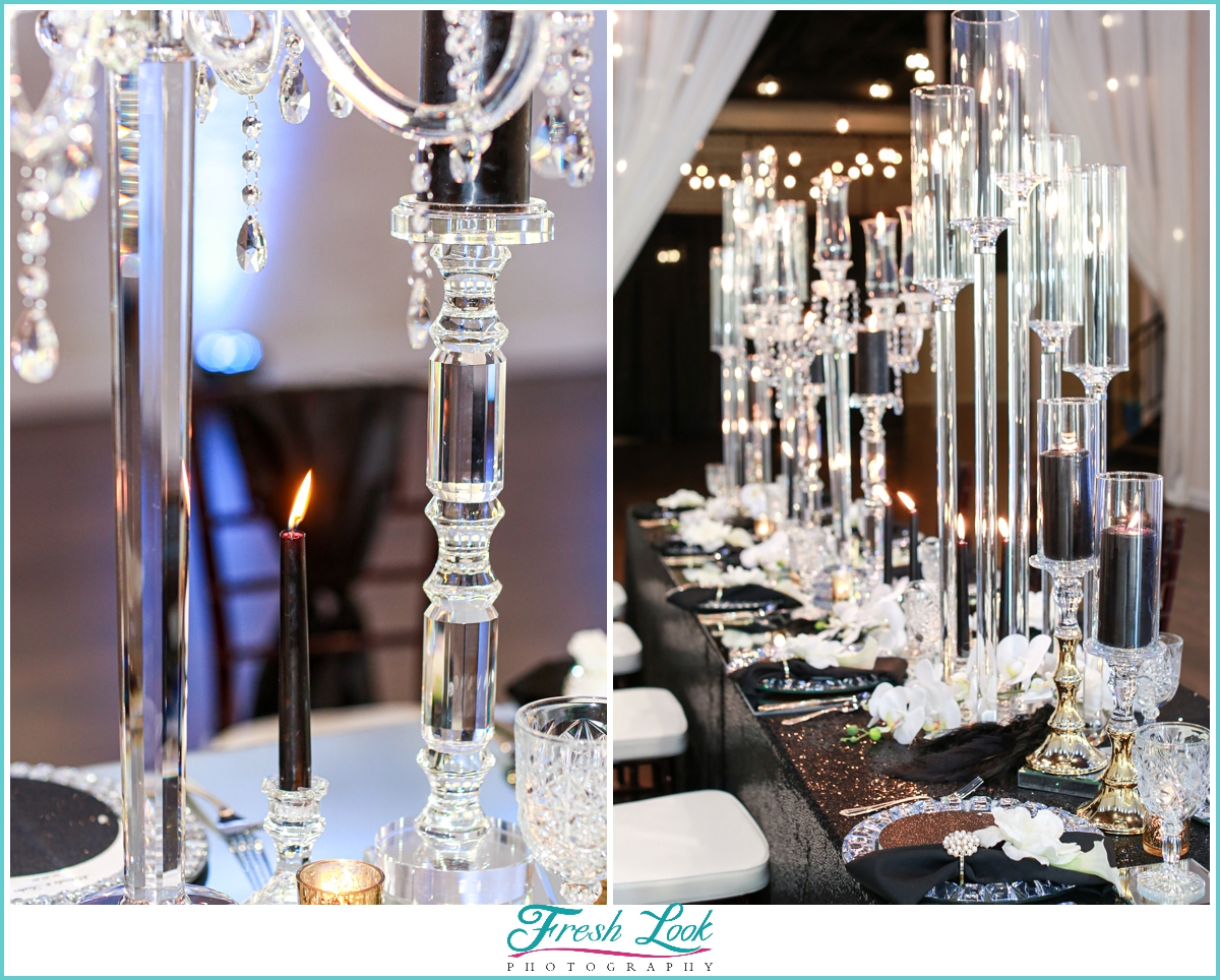 crystal wedding reception decoration
