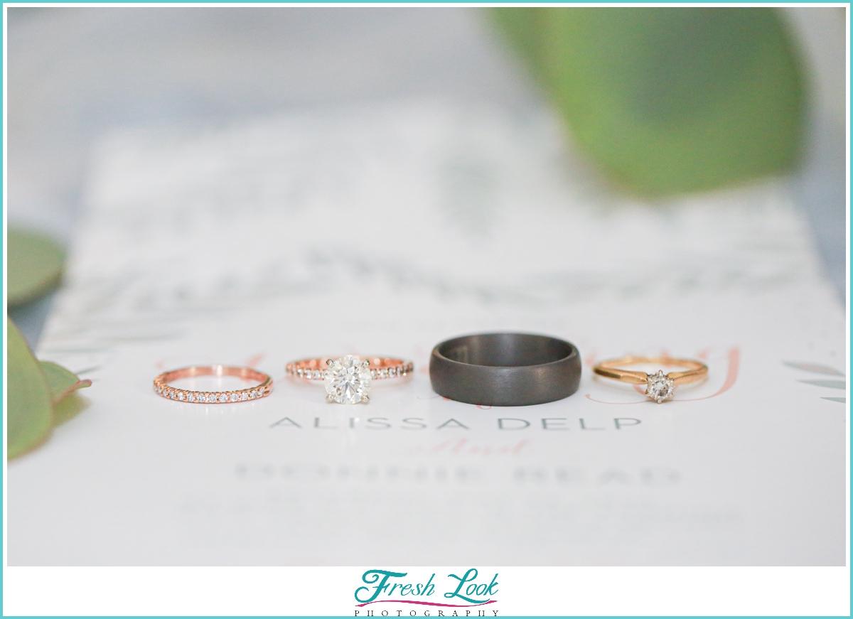 wedding rings on invitations