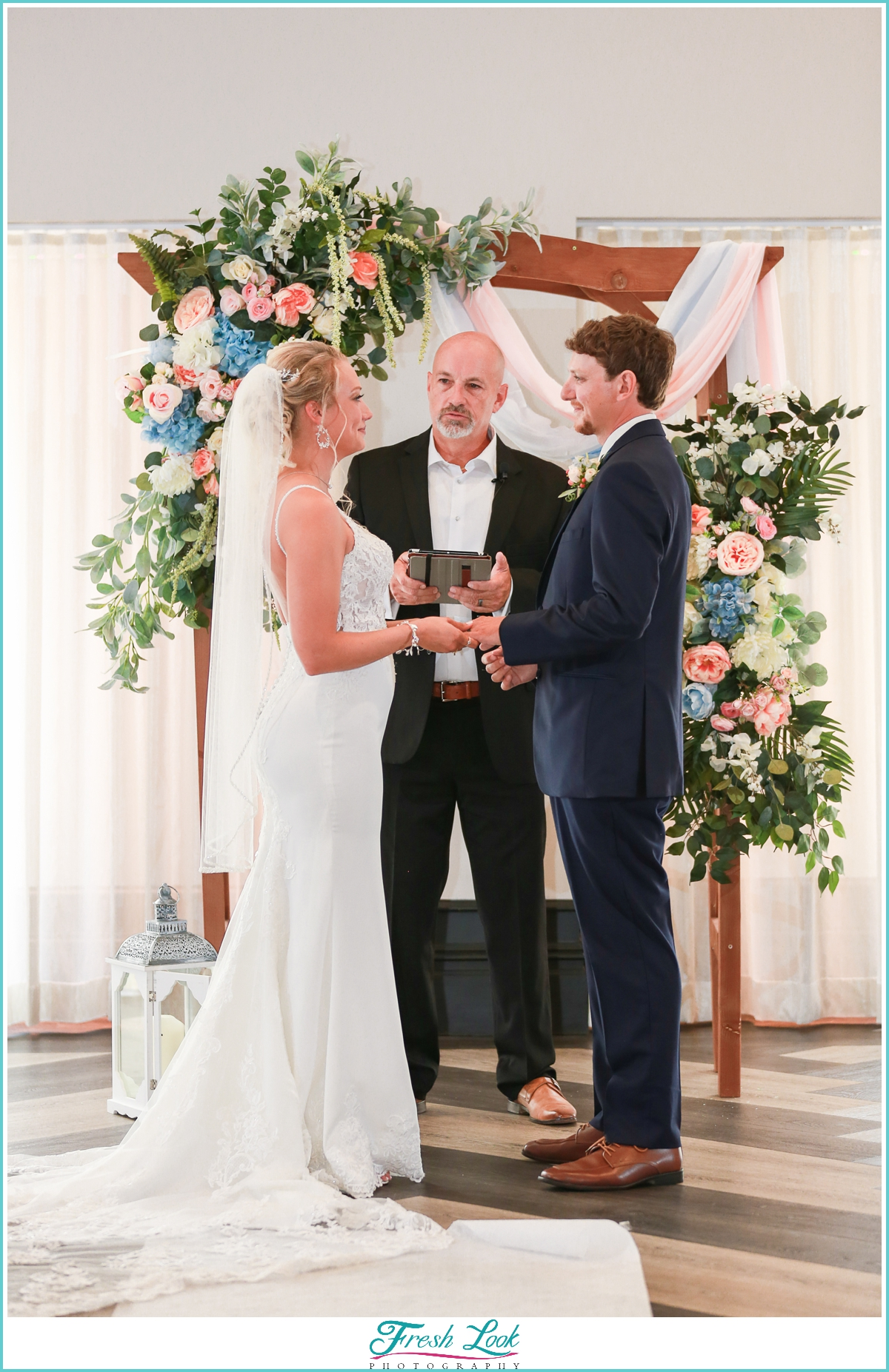 exchanging of rings at wedding ceremony