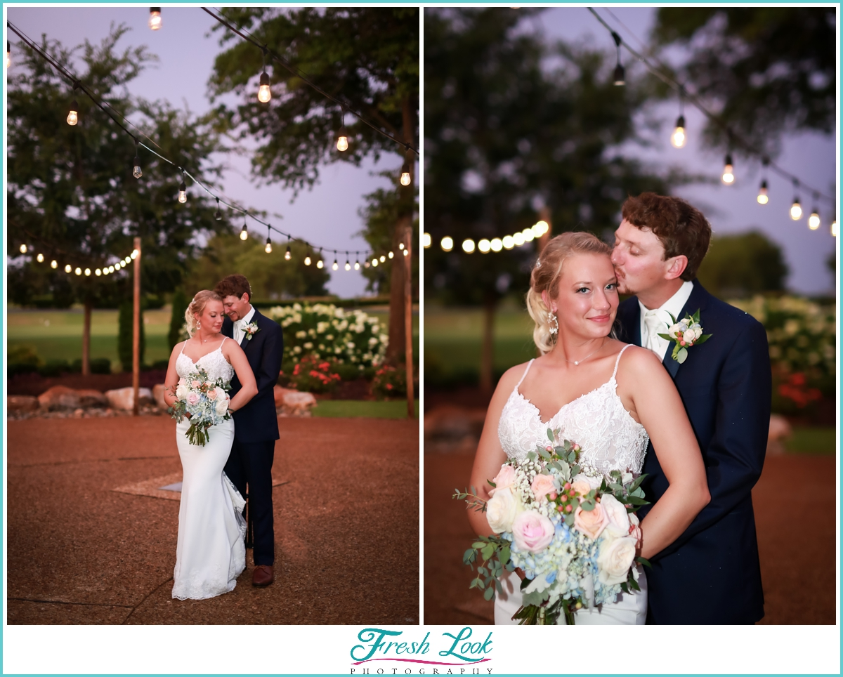 romantic sunset photos with cafe lights