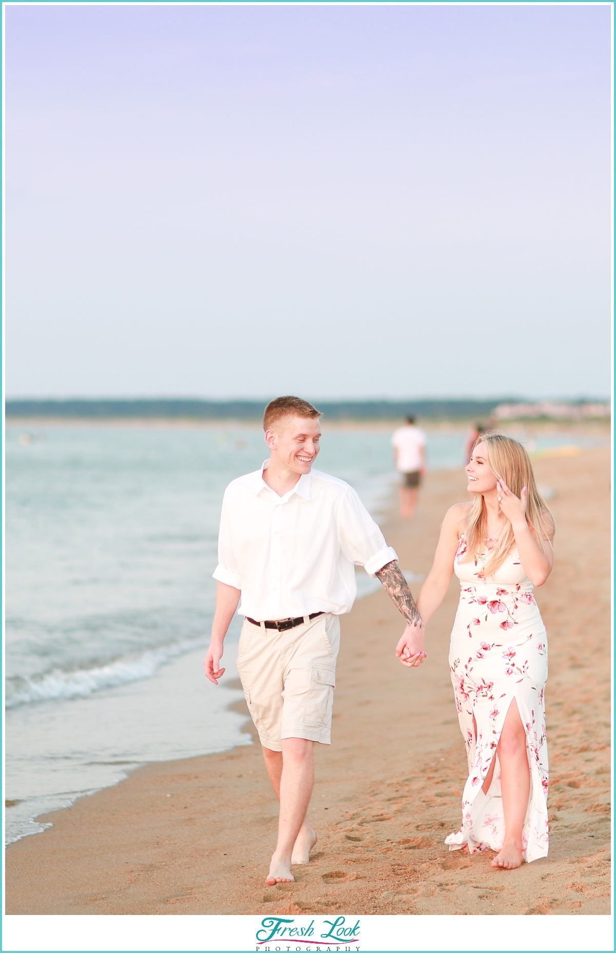 walking on the beach together