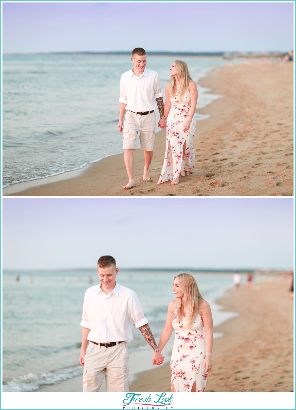 romantic walk on the beach