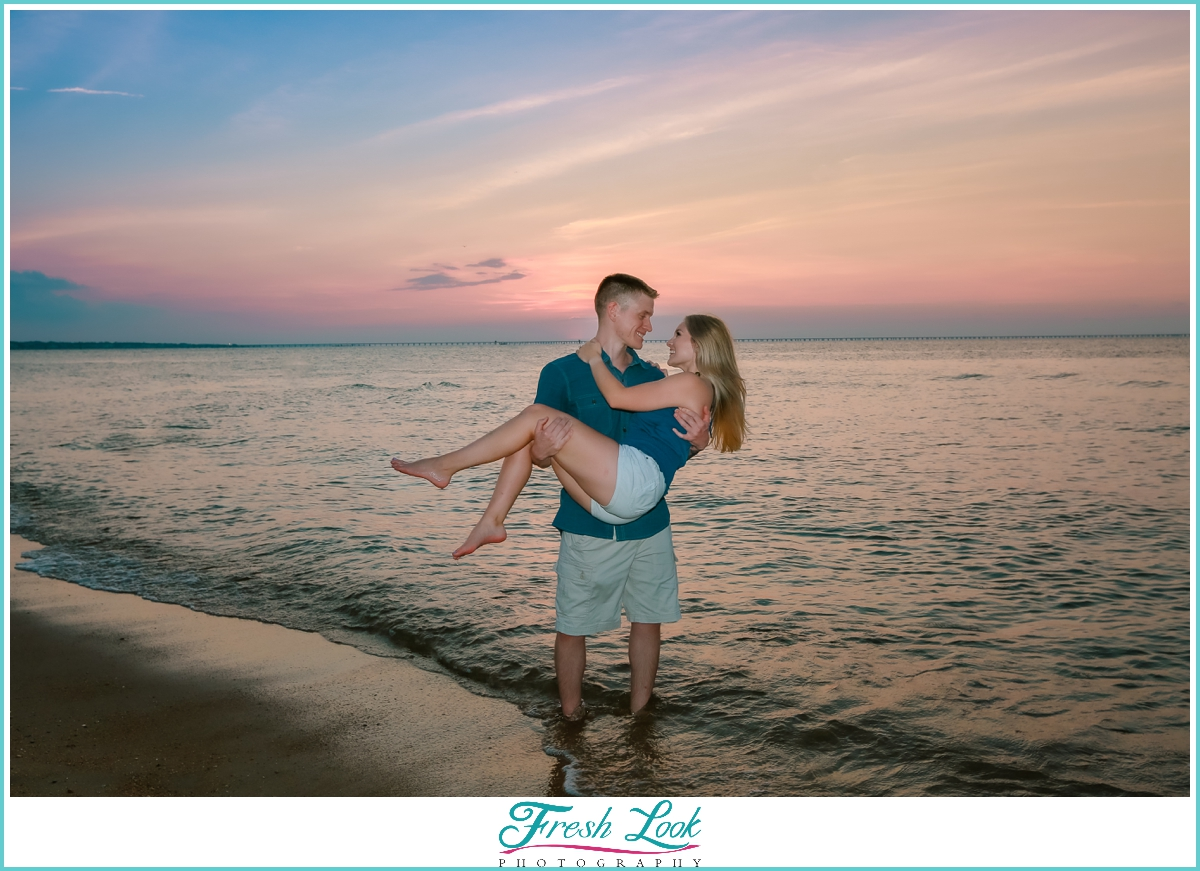 romantic beach engagement photoshoot