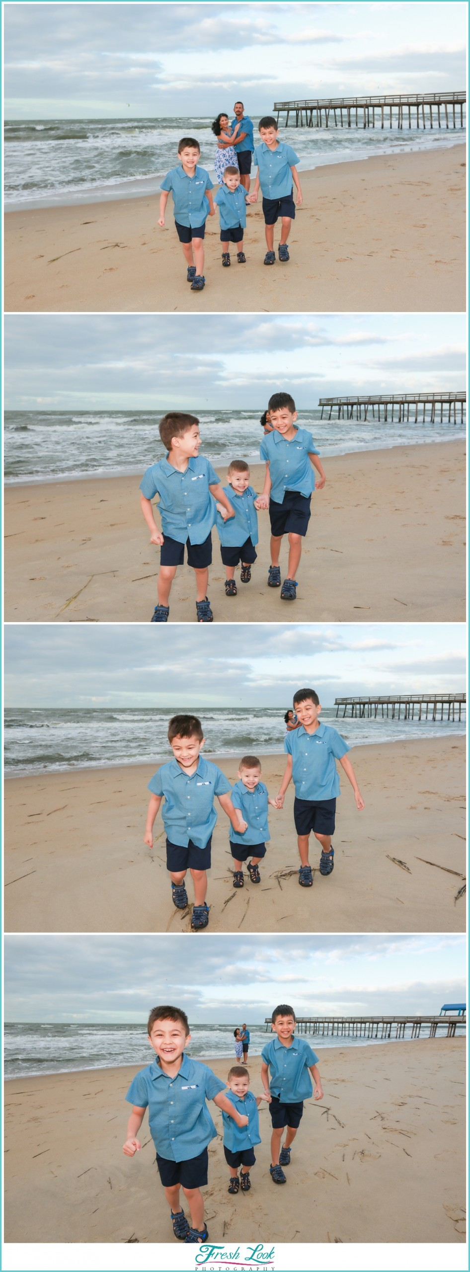 little boys playing on the beach