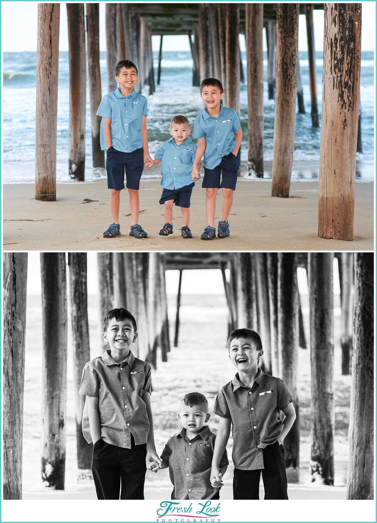 boys playing under the pier