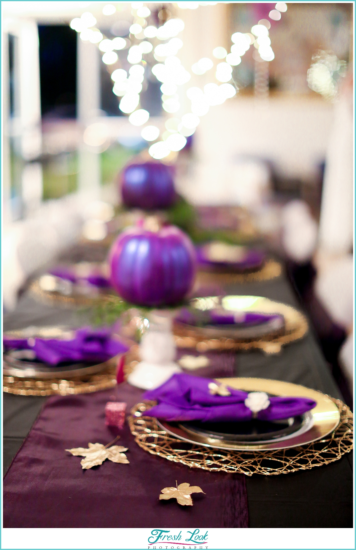 purple and gold Halloween themed bridal shower