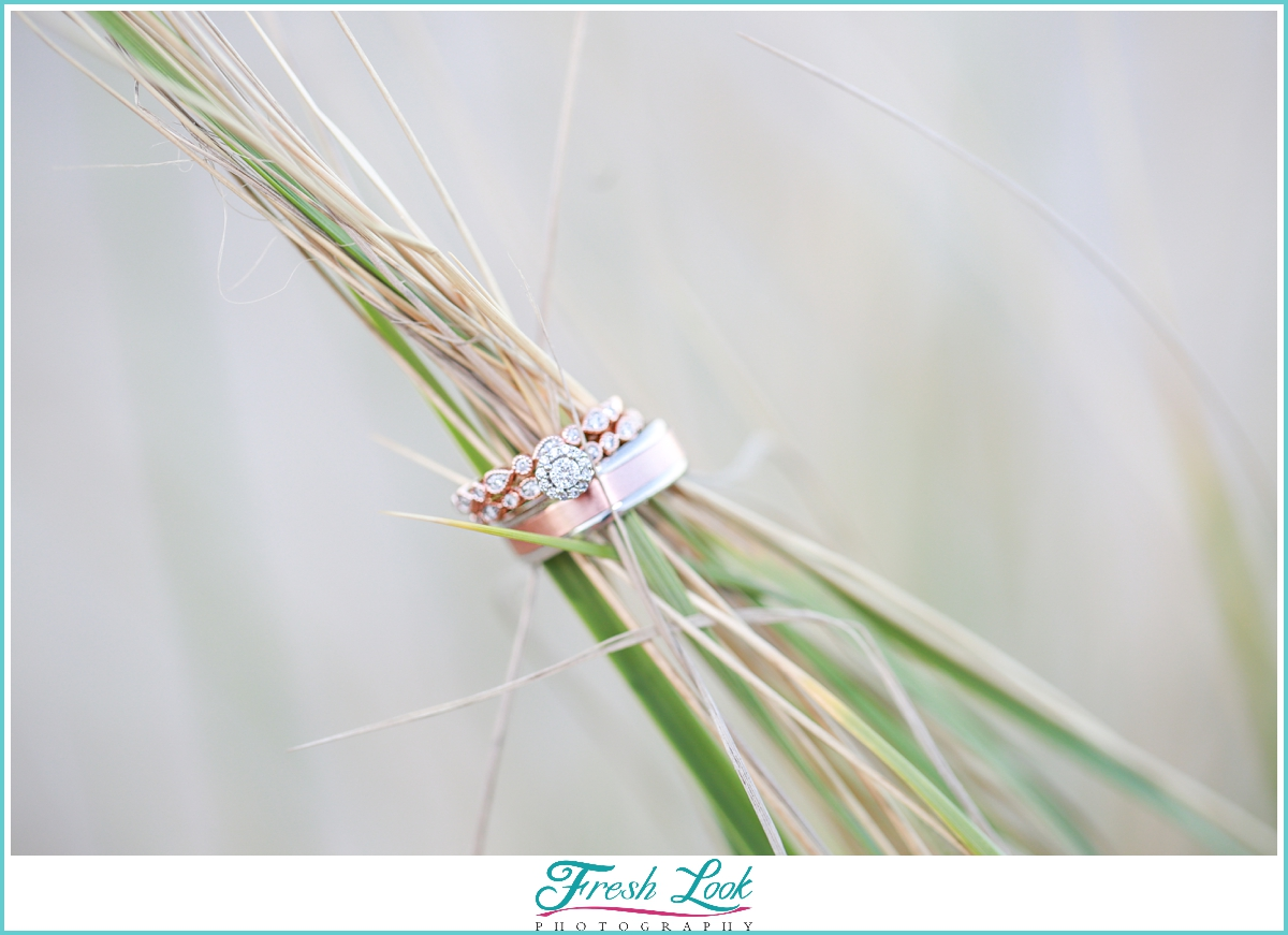Engagement Ring on the sea grass