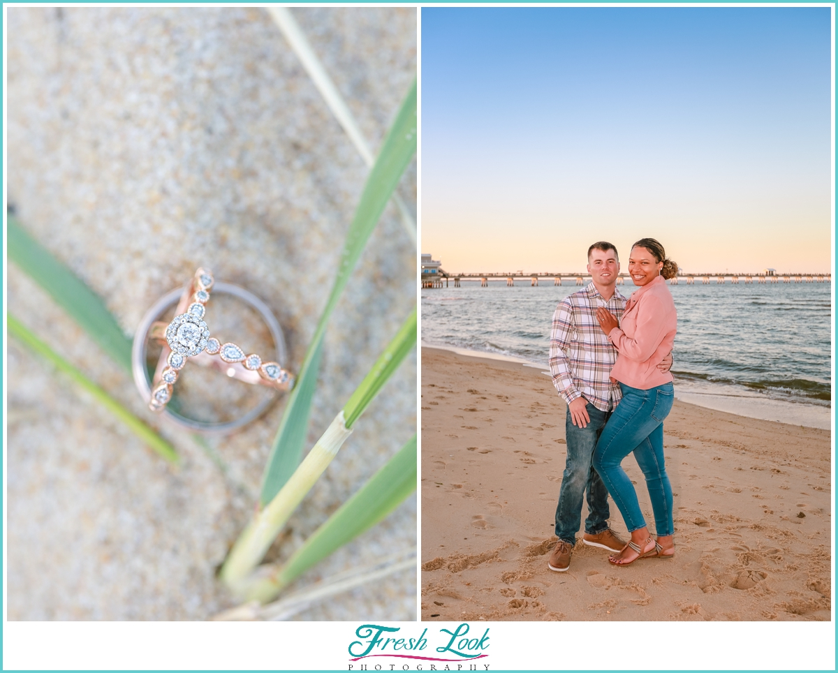 Ocean View Engagement Photos by the Pier