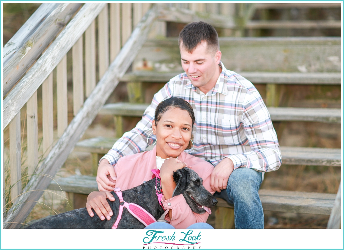 fun engagement photos with the dog