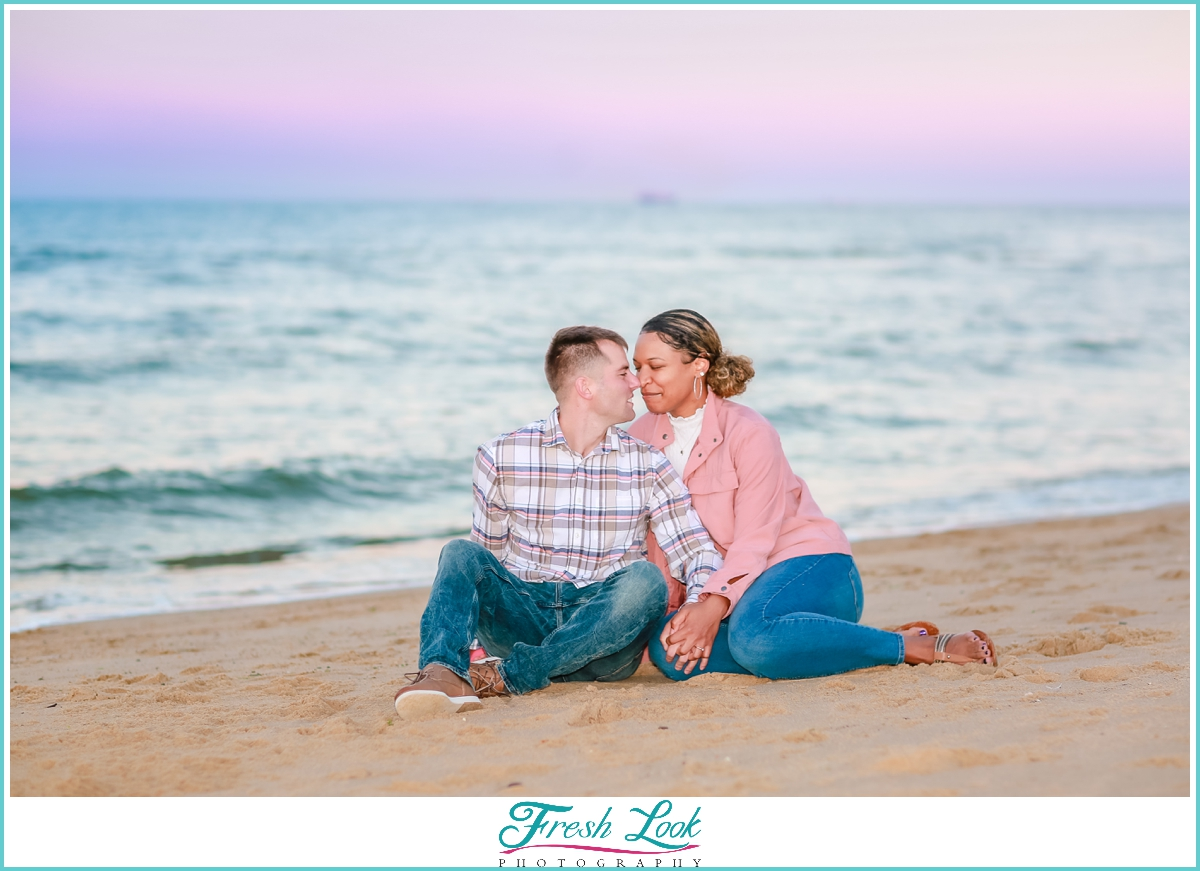 romantic purple and pink sunset engagement session