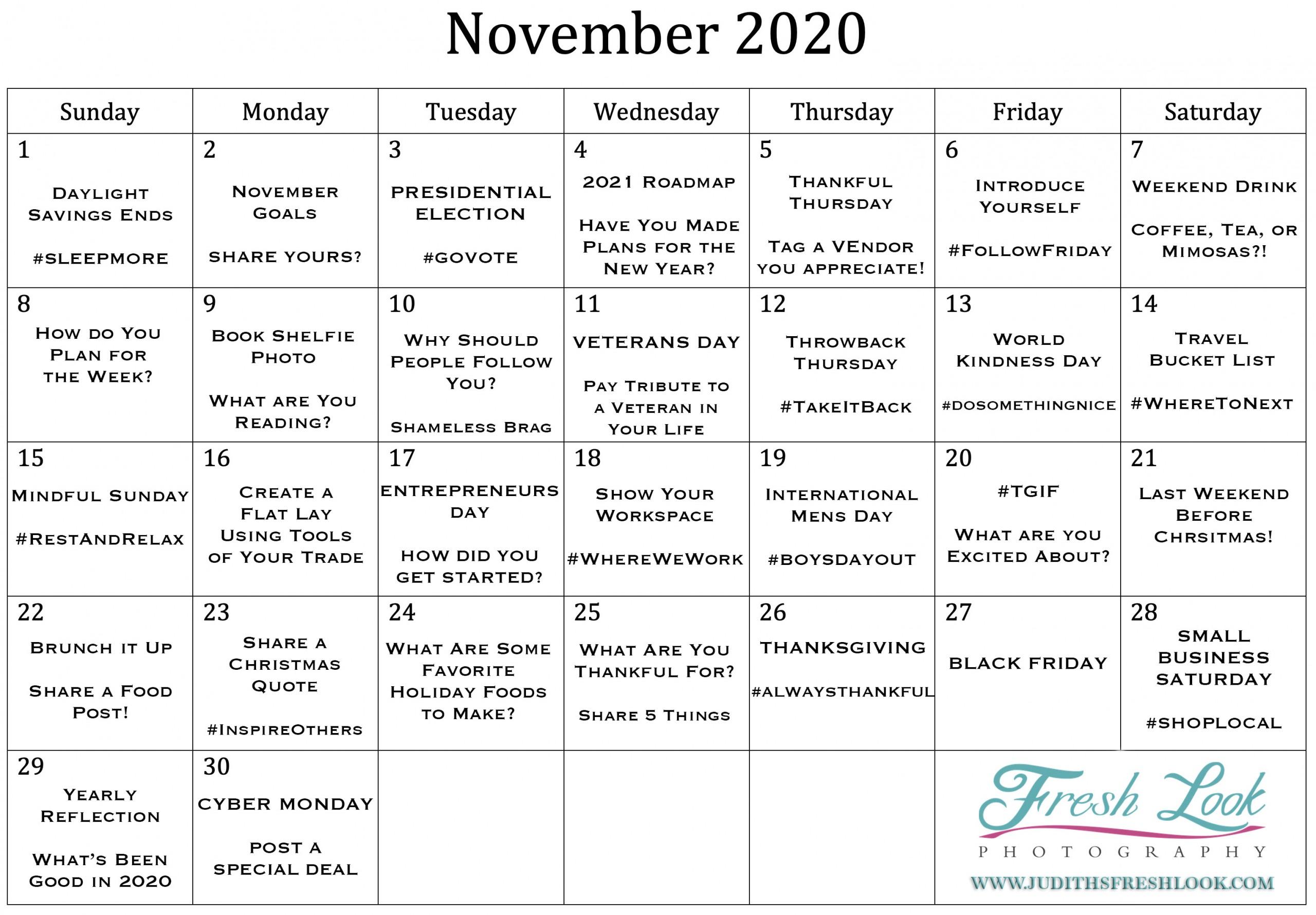 November 2020 Goals Social Media Calendar