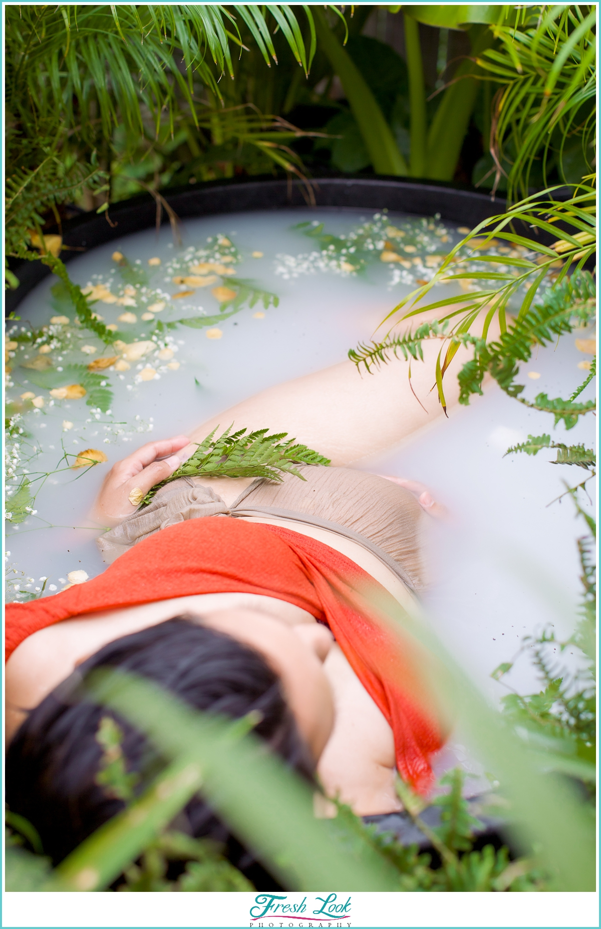 milk bath maternity photoshoot
