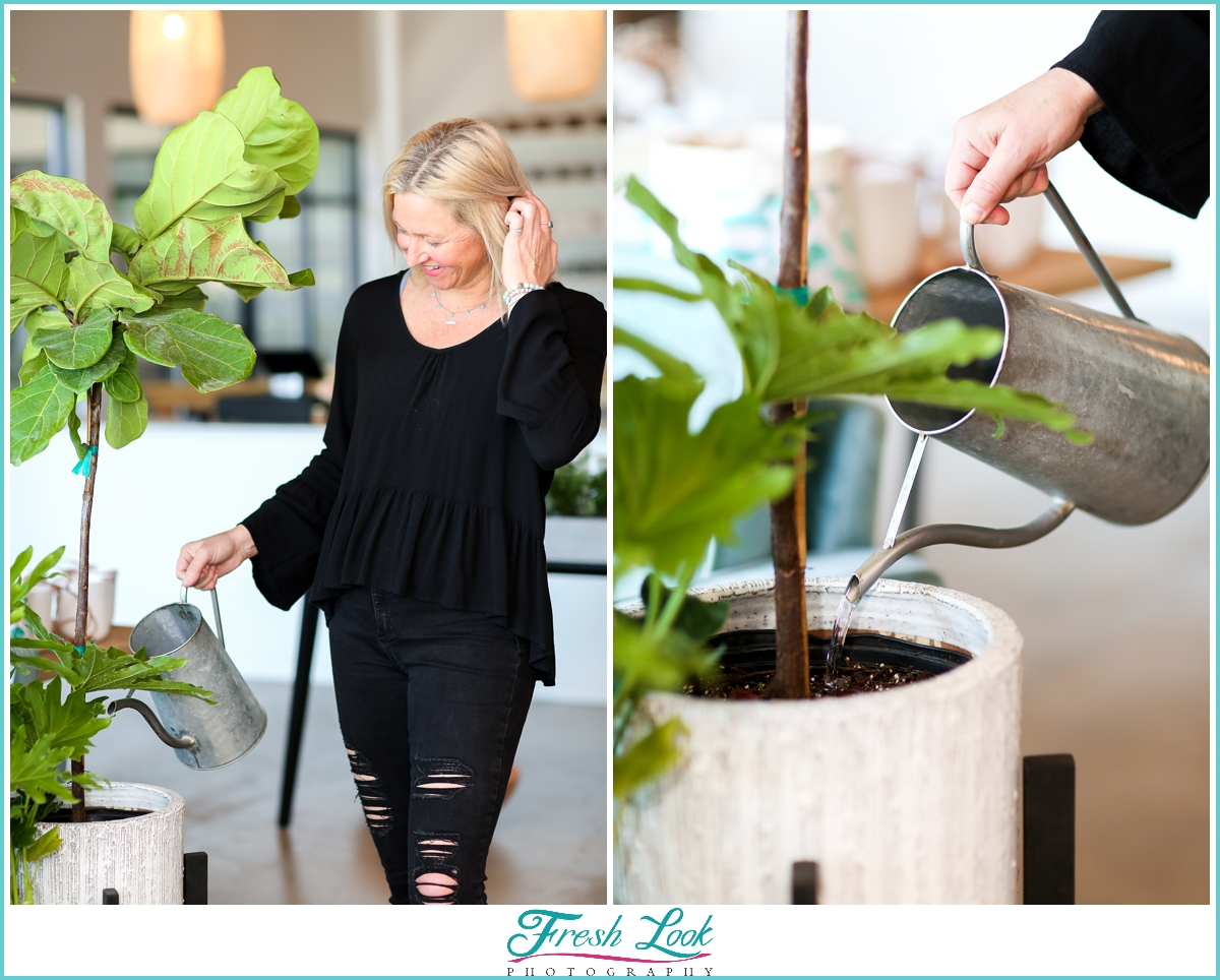 watering plants personal branding photography