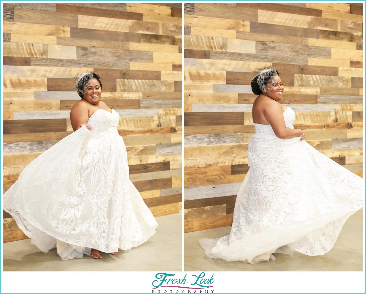 fun bridal gown photos