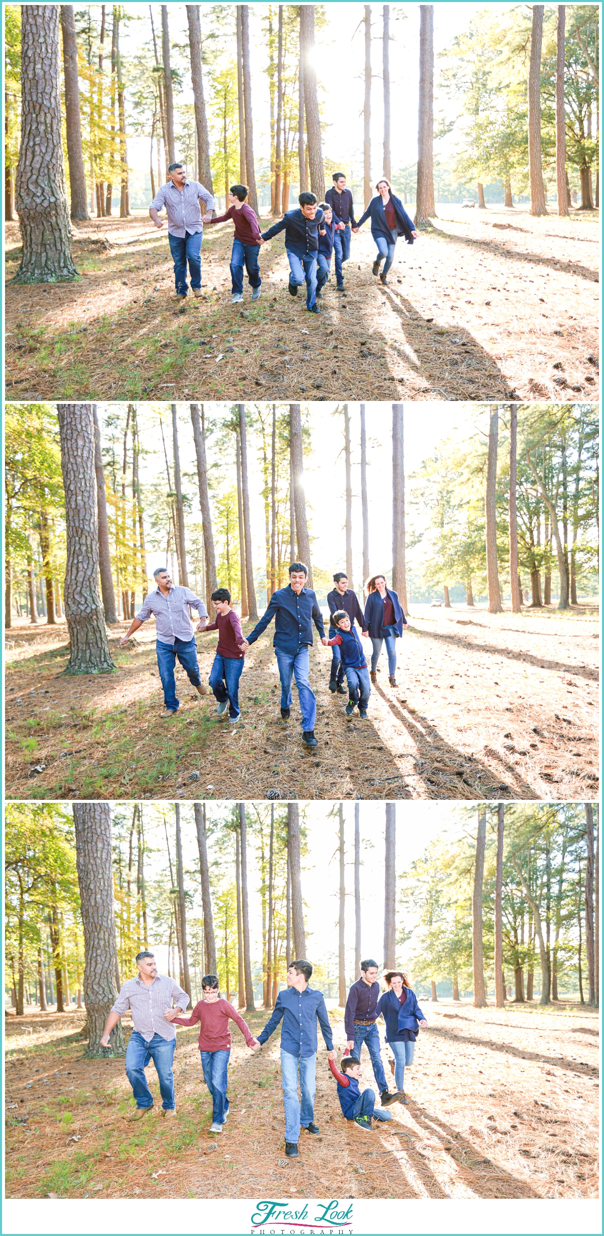 running together during family photos