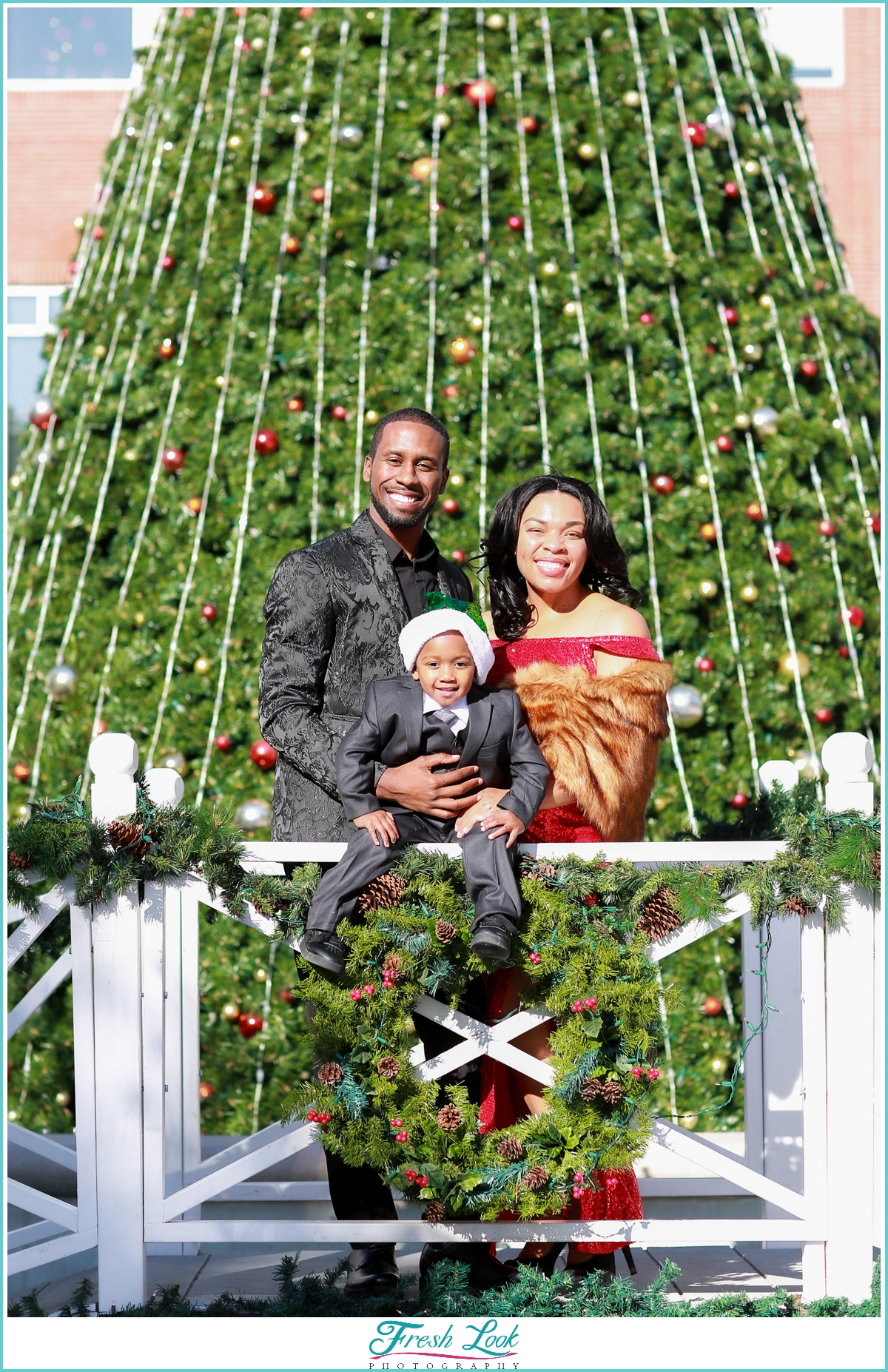 classy holiday photoshoot in Town Center Virginia Beach