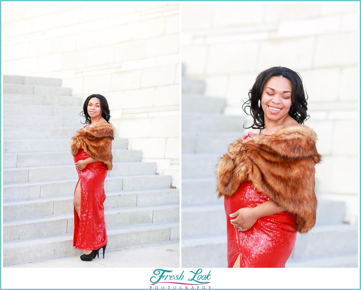 red dress maternity photoshoot