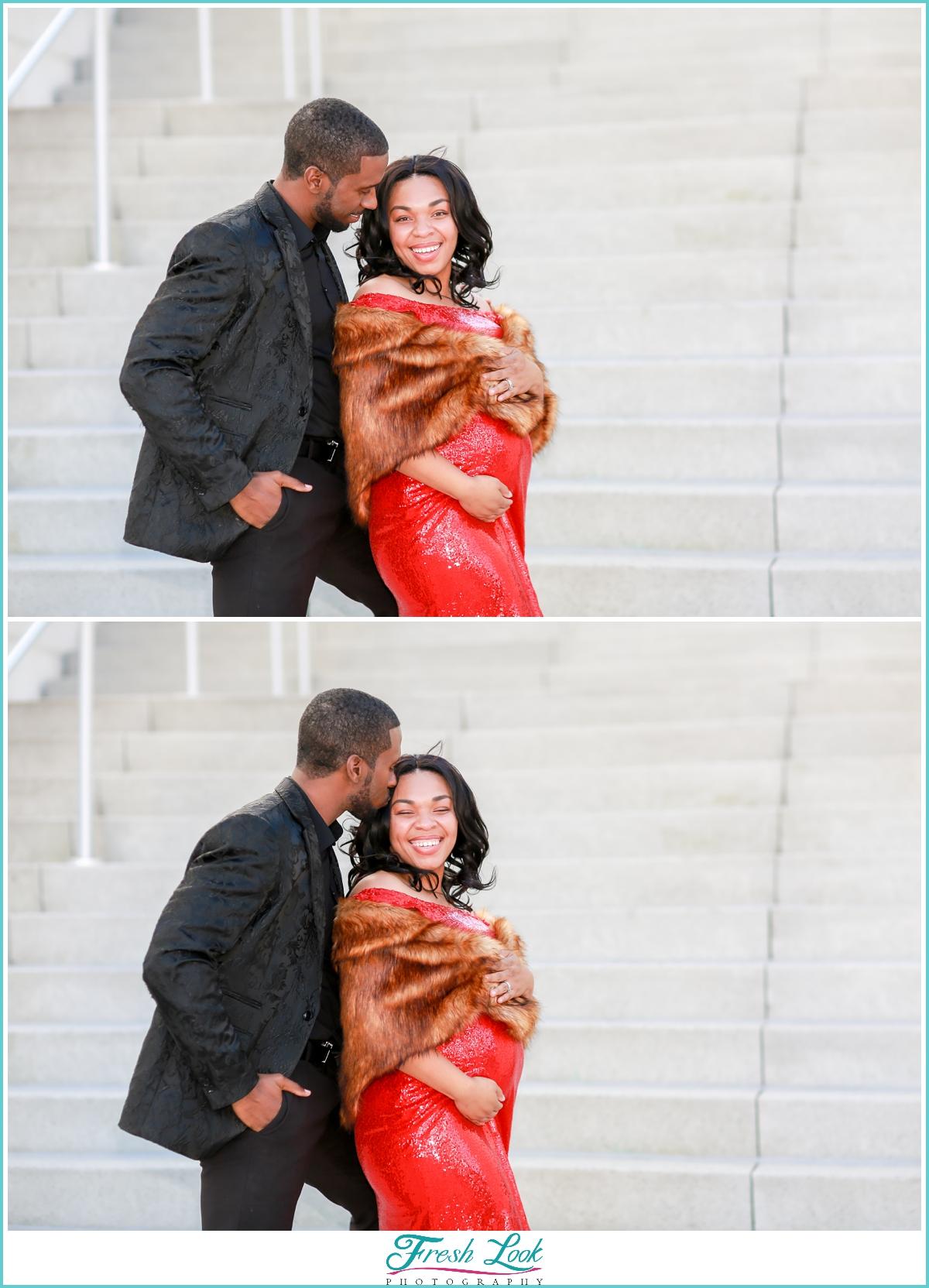 couples photoshoot at Town Center Virginia Beach