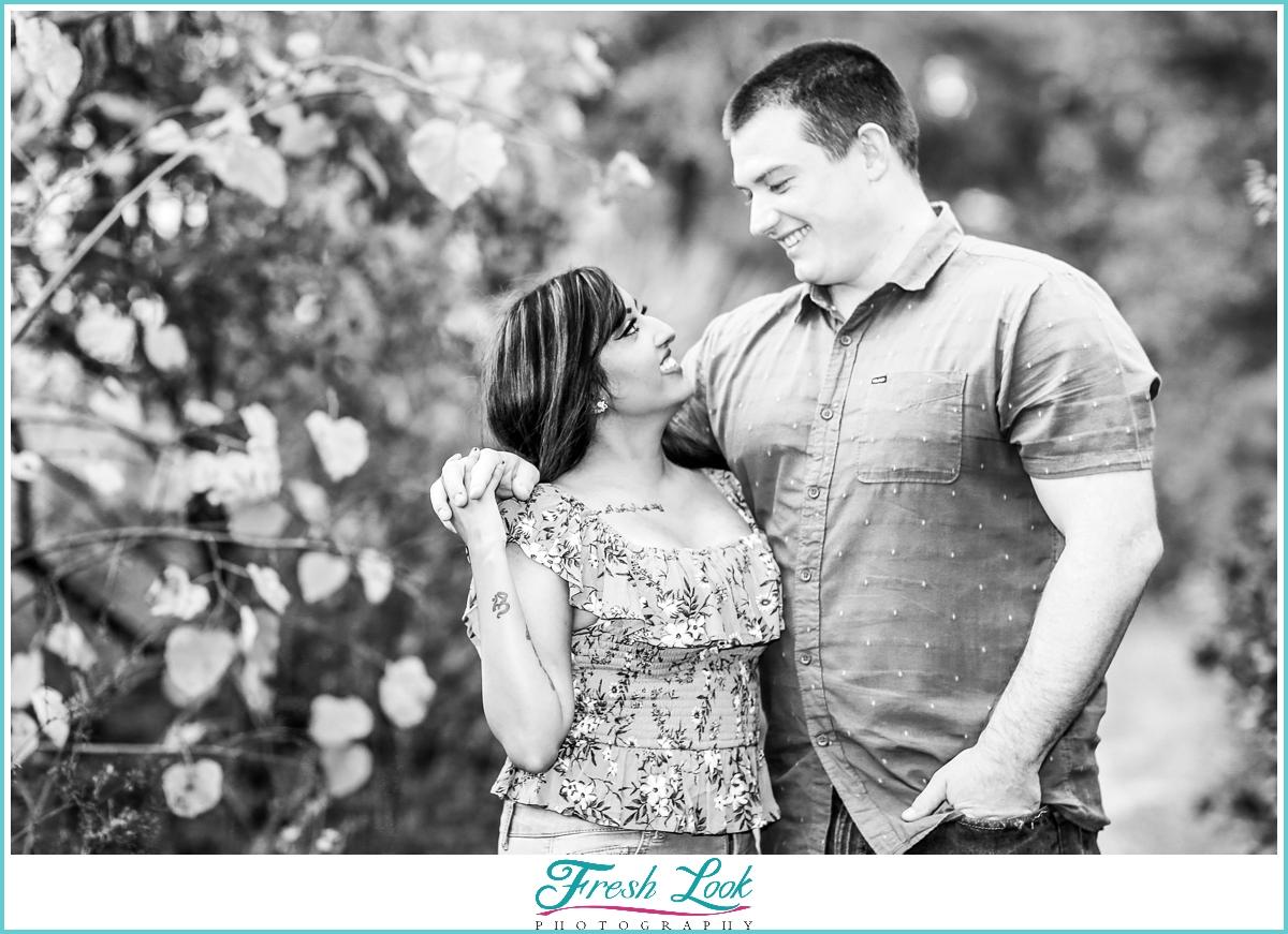 black and white engagement photoshoot