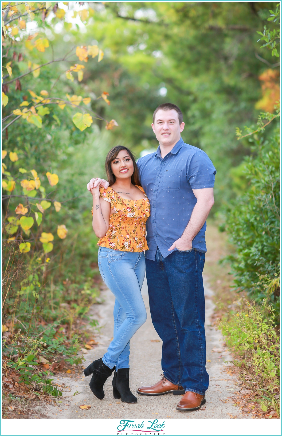 couples photoshoot in the woods