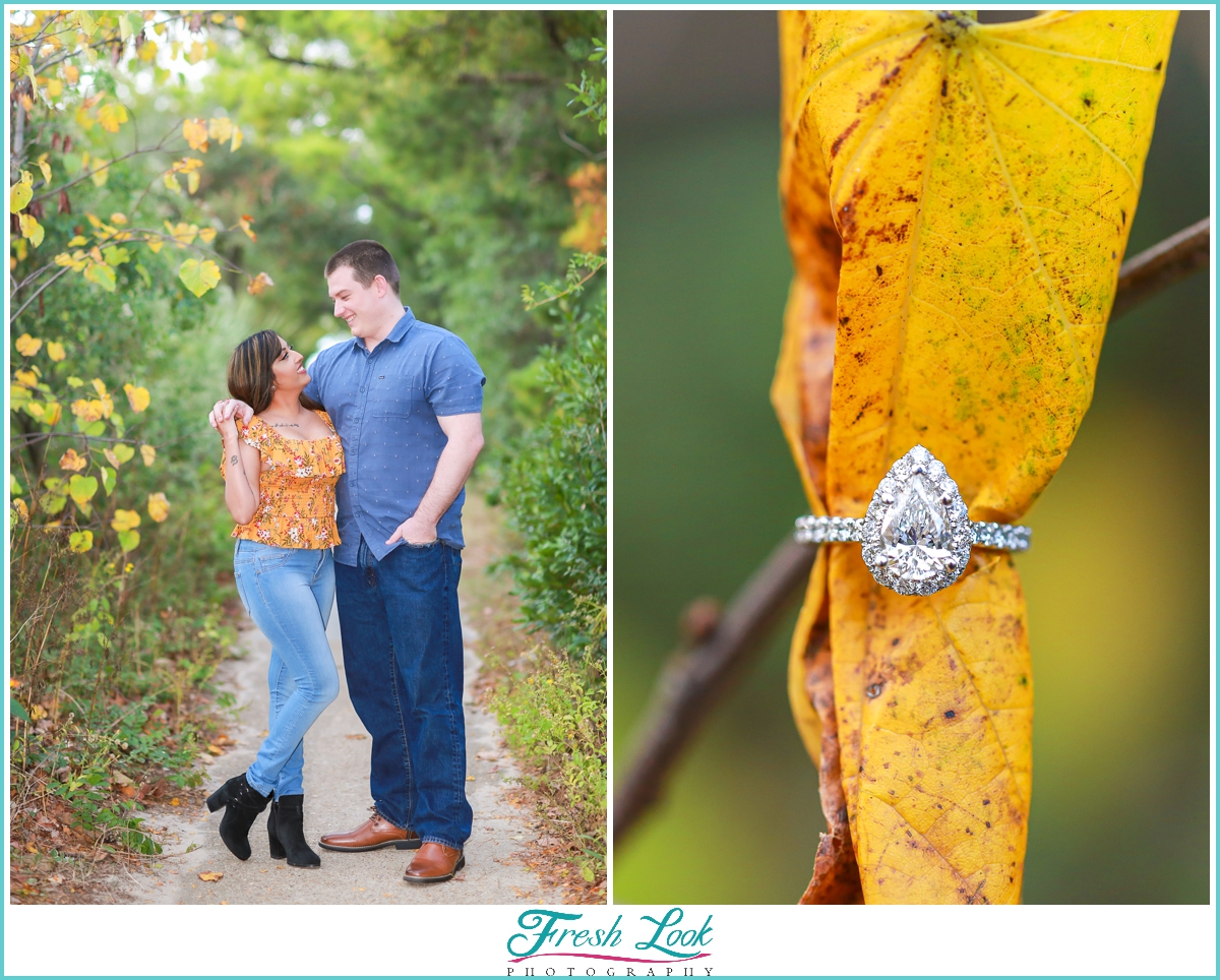 couples photoshoot with engagement ring