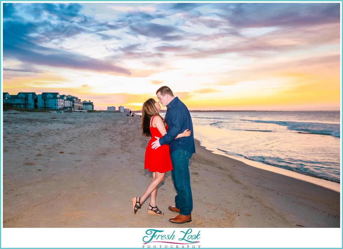 romantic sunset photoshoot in Virginia Beach