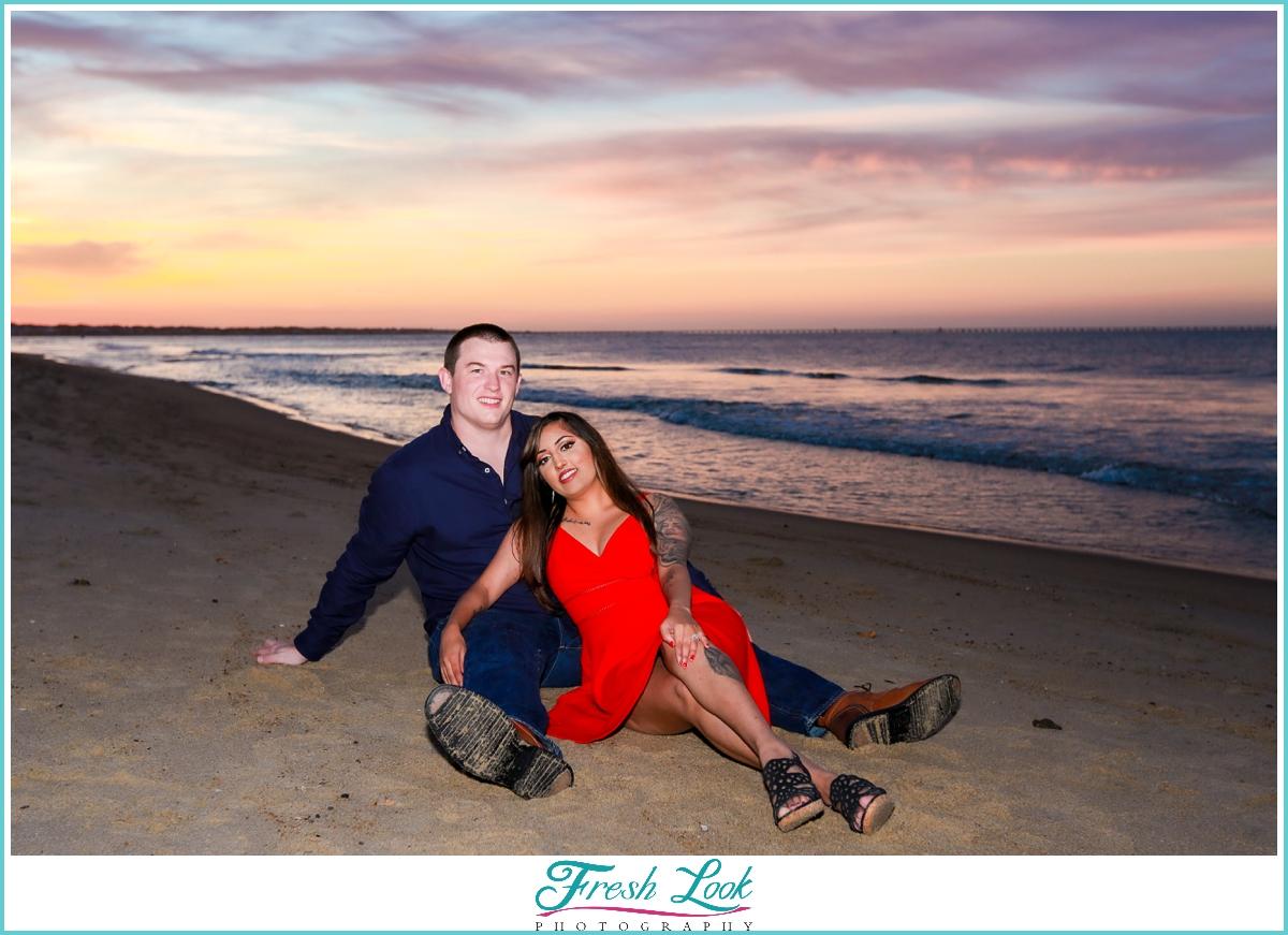 classy sunset engagement photoshoot