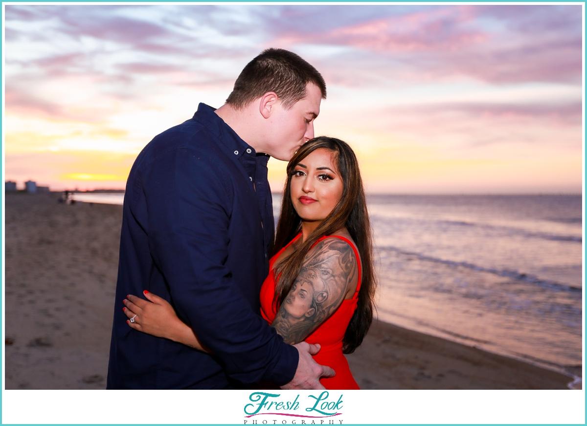 romantic engagement photoshoot at sunset