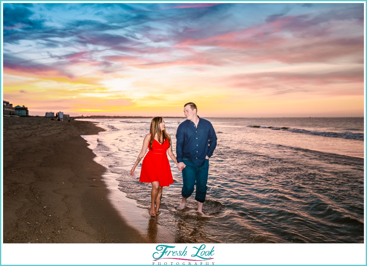 Virginia Beach sunset engagement photos
