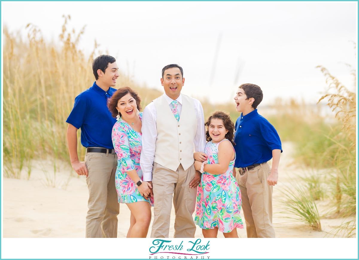 fun family photoshoot on the beach