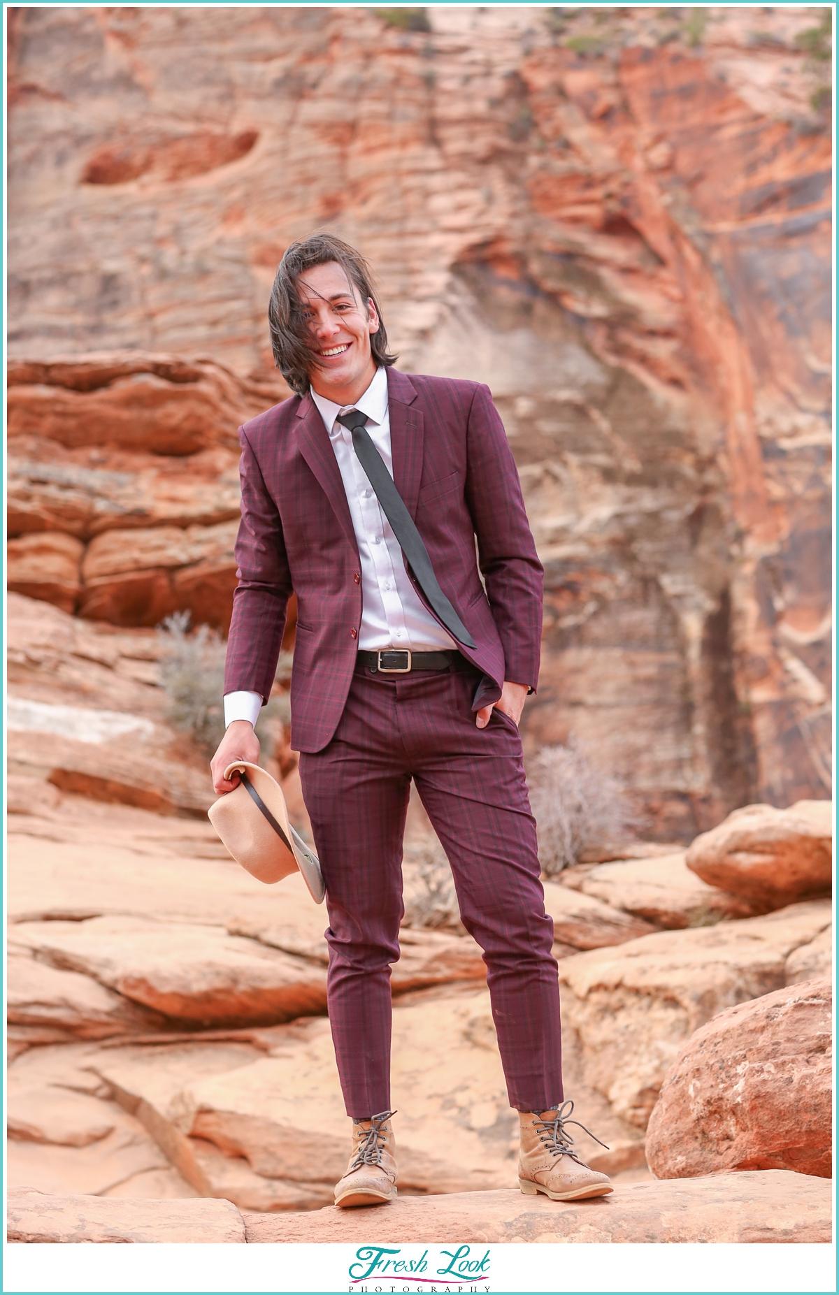 handsome groom at Zion national park