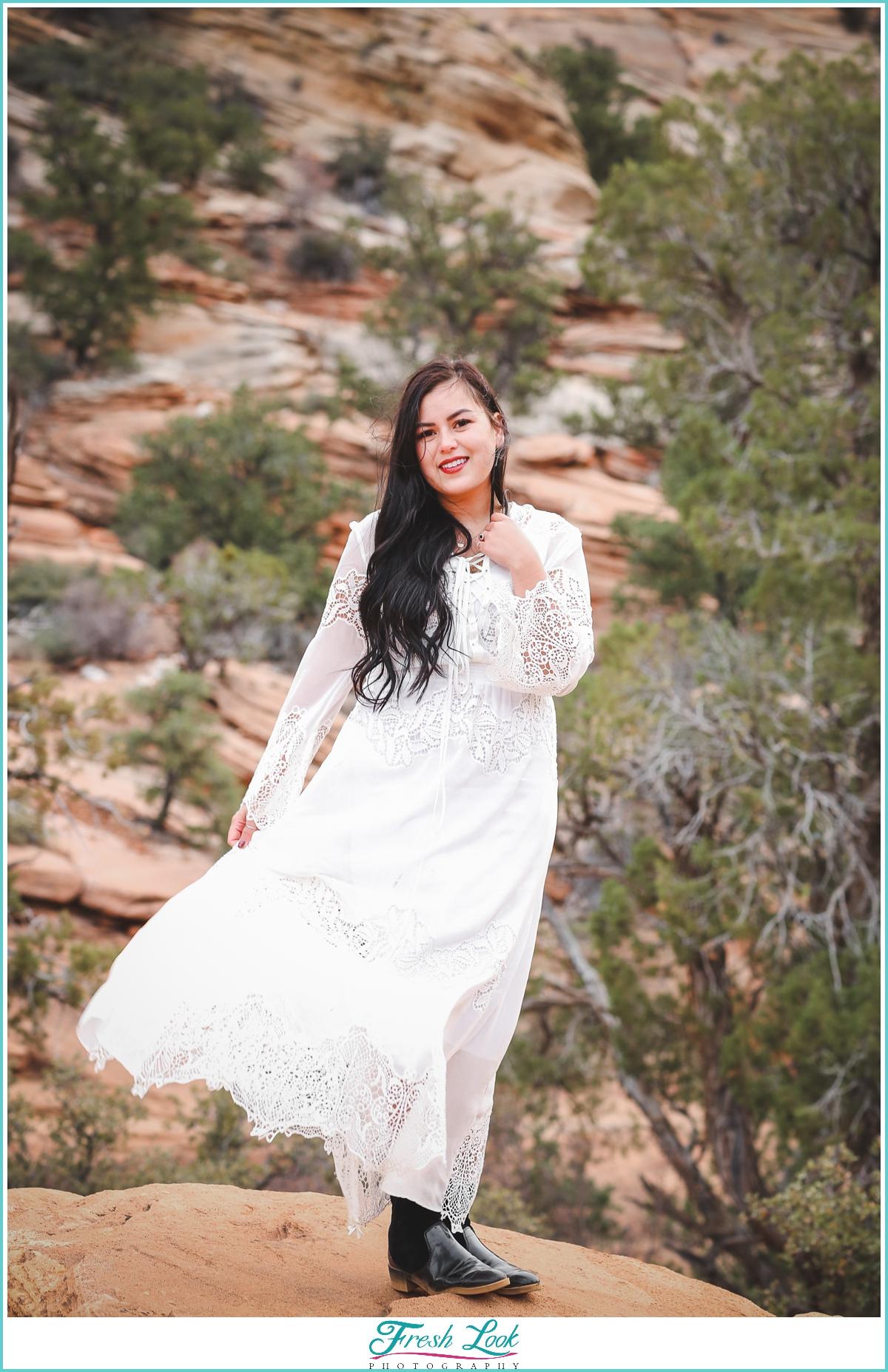 Zion national park bride