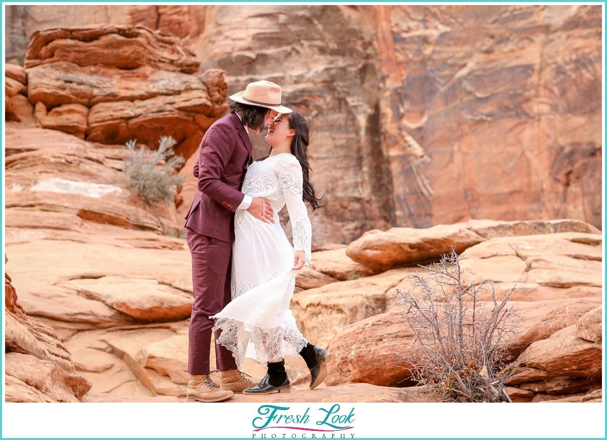 Zion mountain elopement photos