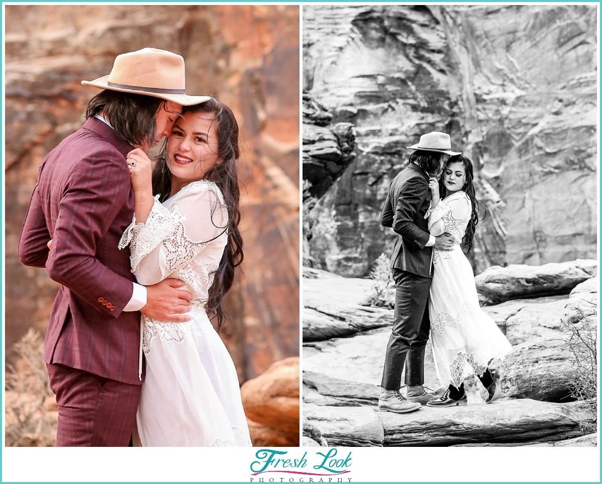 romantic Zion national park elopement