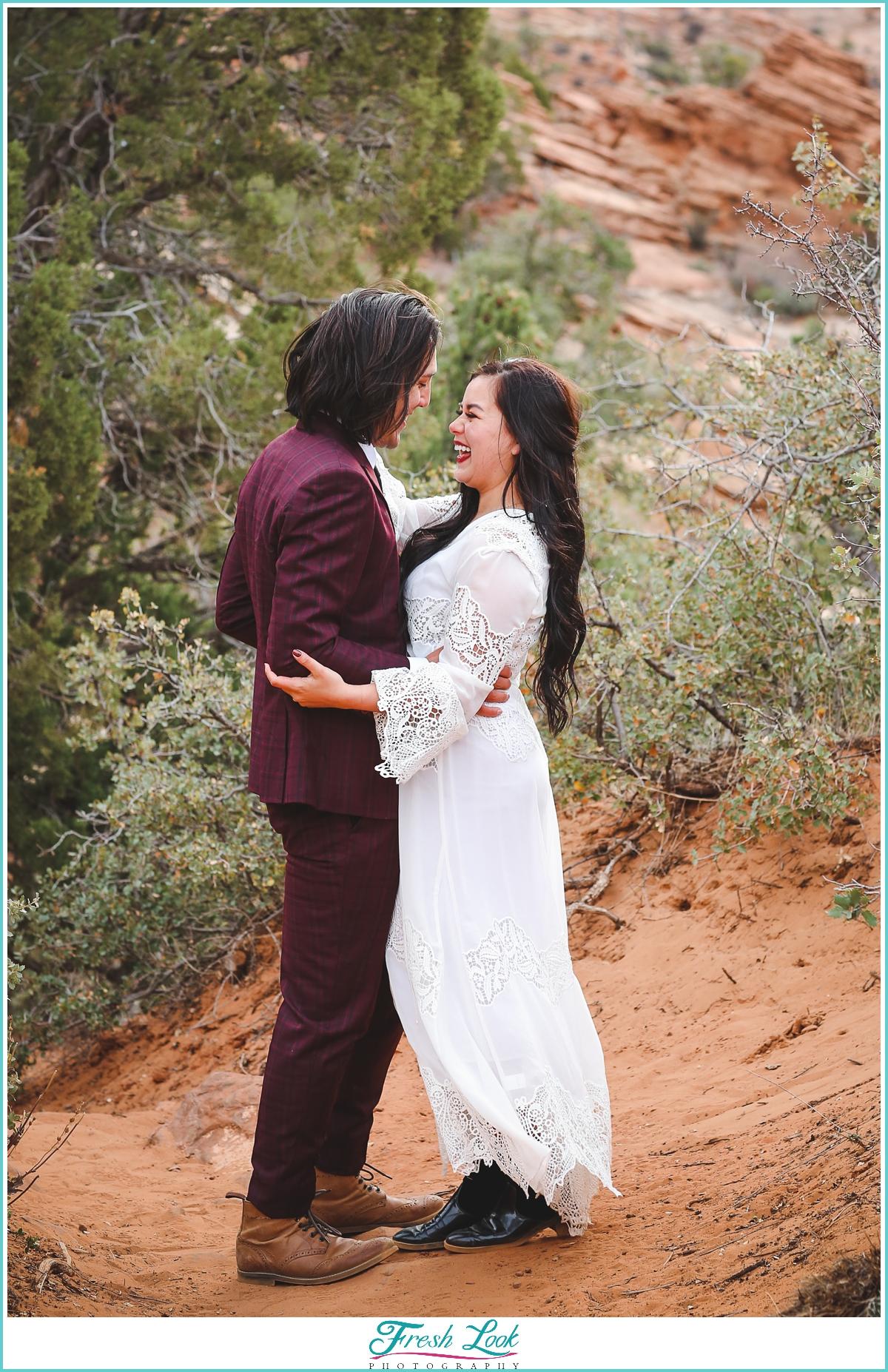 Romantic mountain elopement