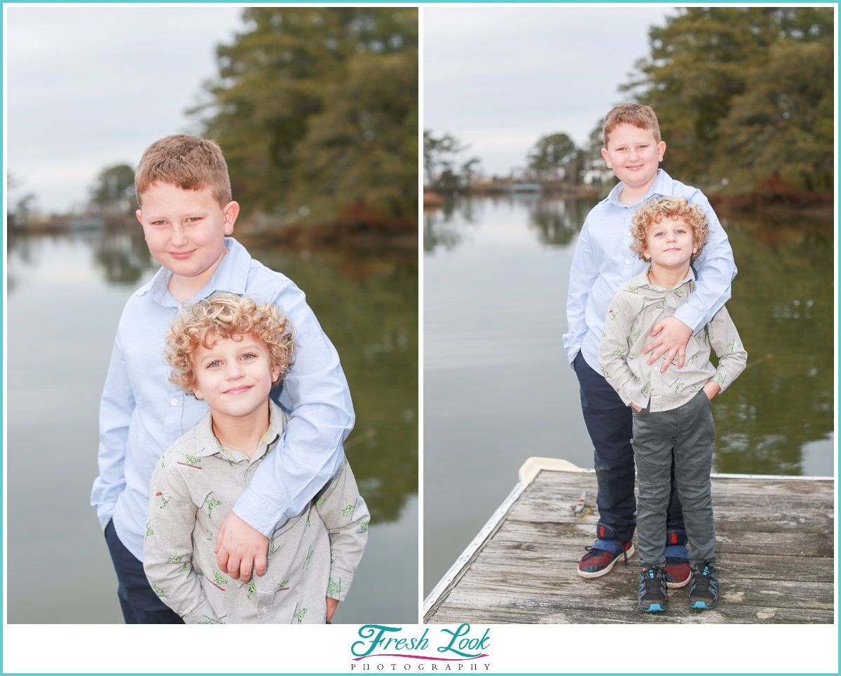brothers photoshoot on the water