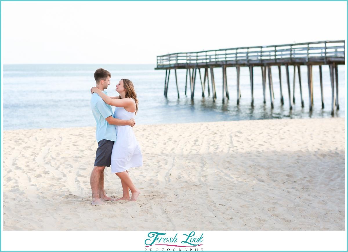 romantic beach engagement photos