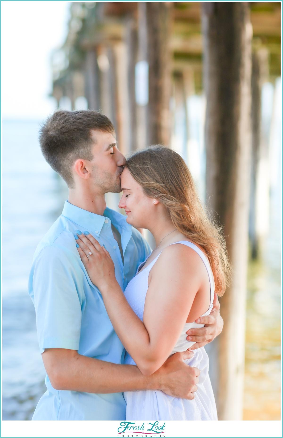 romantic engagement photoshoot on the beach