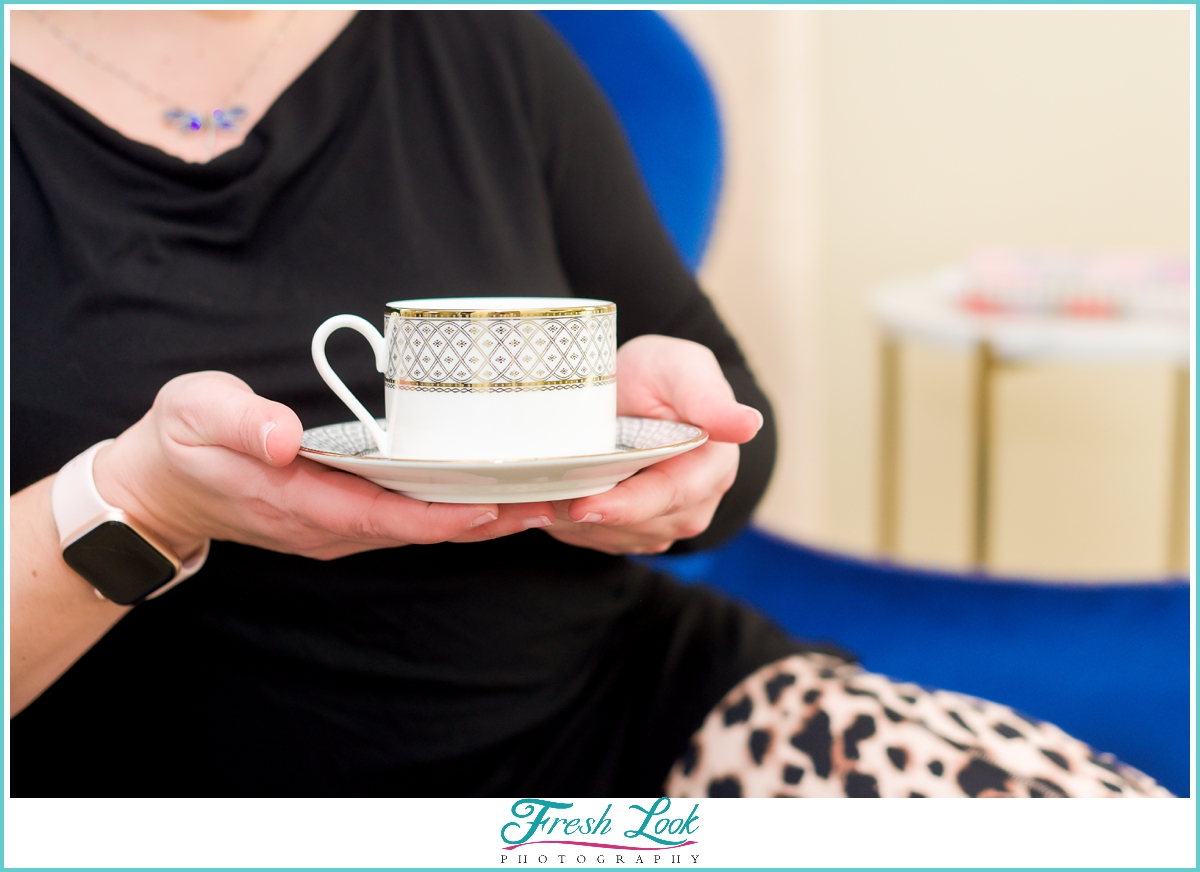 cup of coffee at personal branding photoshoot