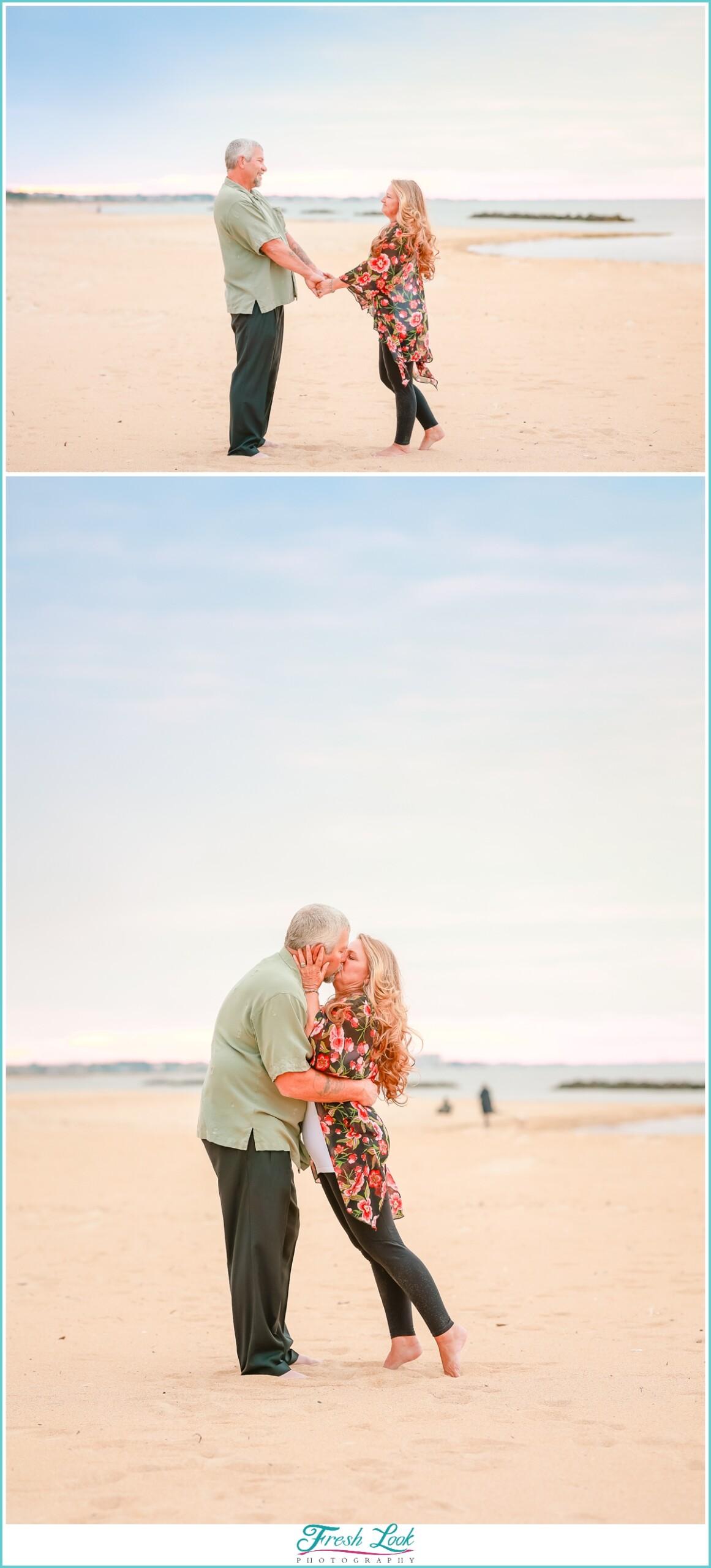 romantic snuggles on the beach
