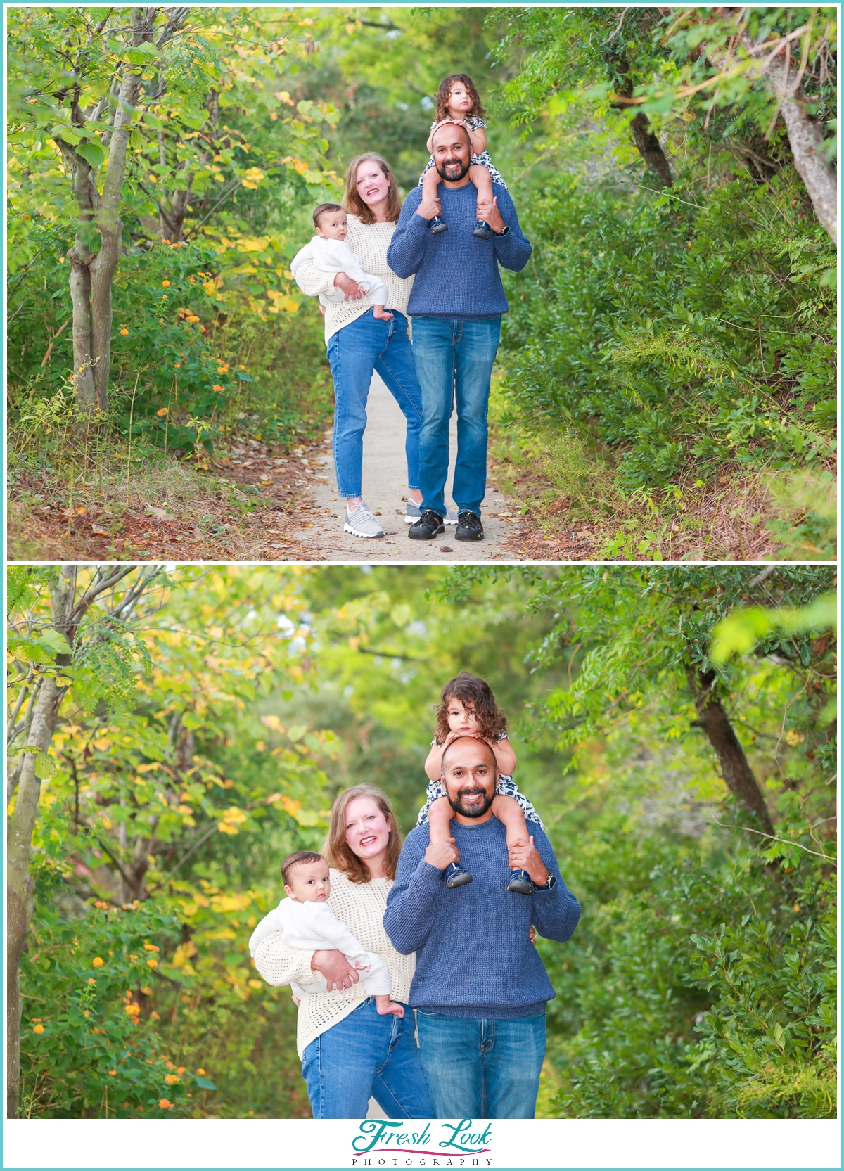 Family photoshoot in the woods