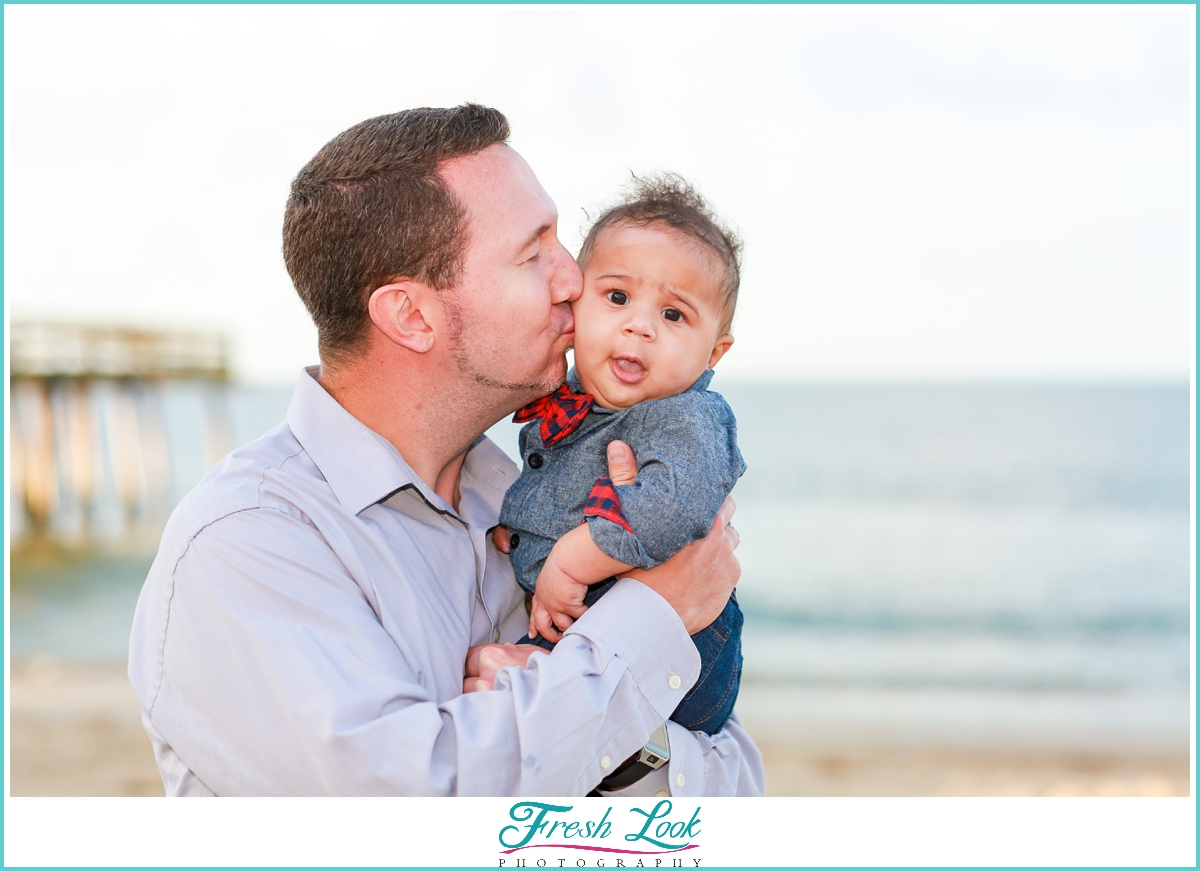 father and son beach photoshoot