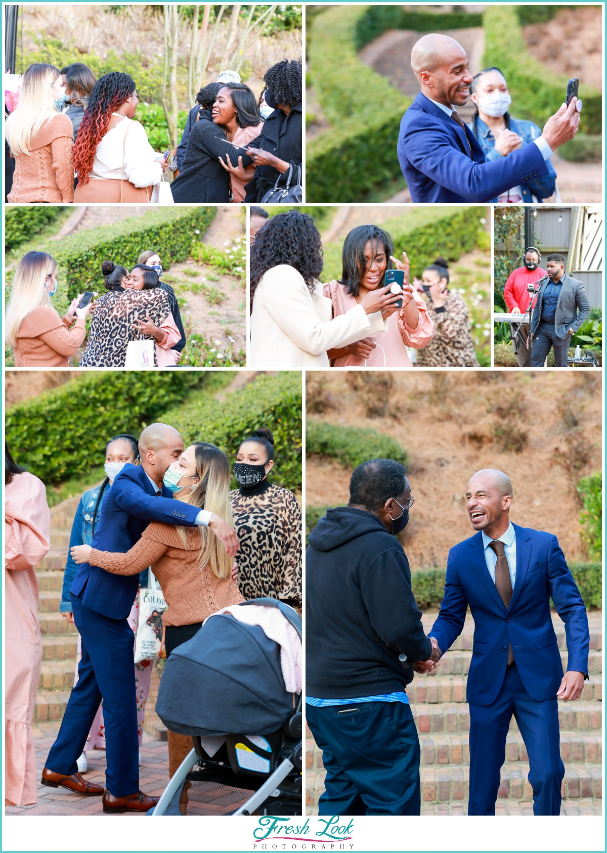 friends and family at surprise proposal