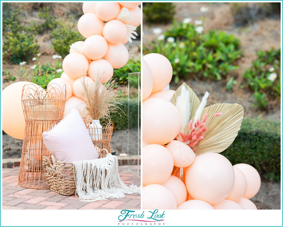 peach and gold boho elopement decor