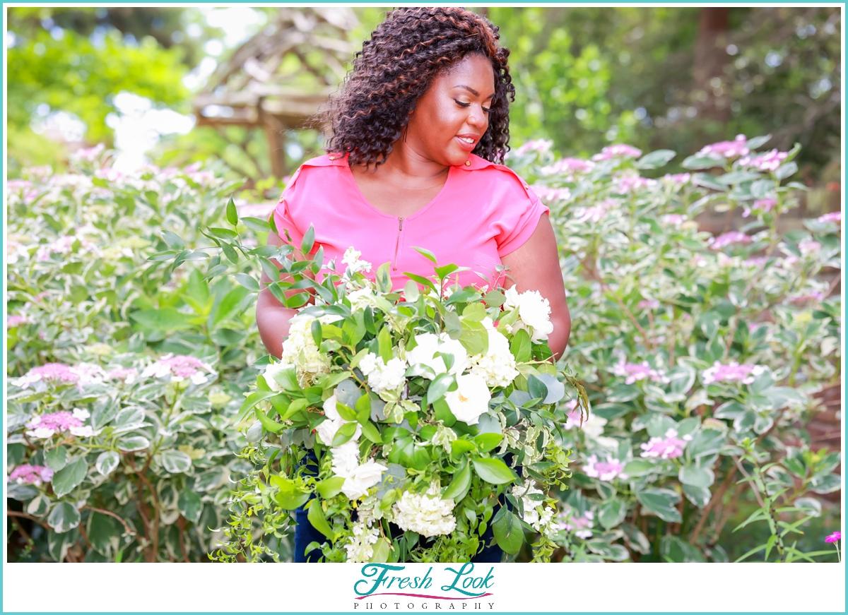 Wedding Planner Holding Flowers