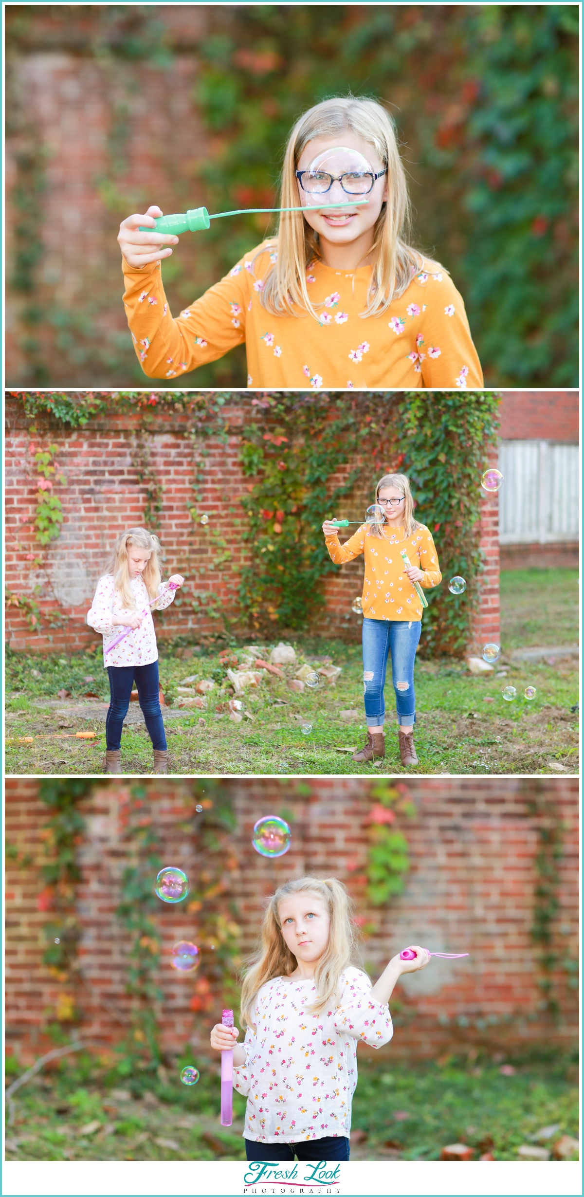 blowing bubbles at the photoshoot