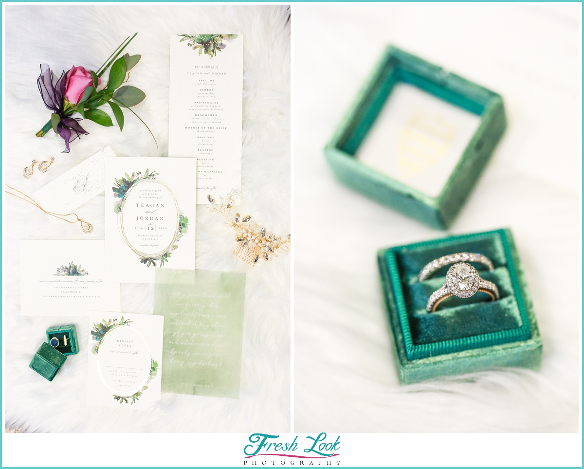 green and gold wedding details