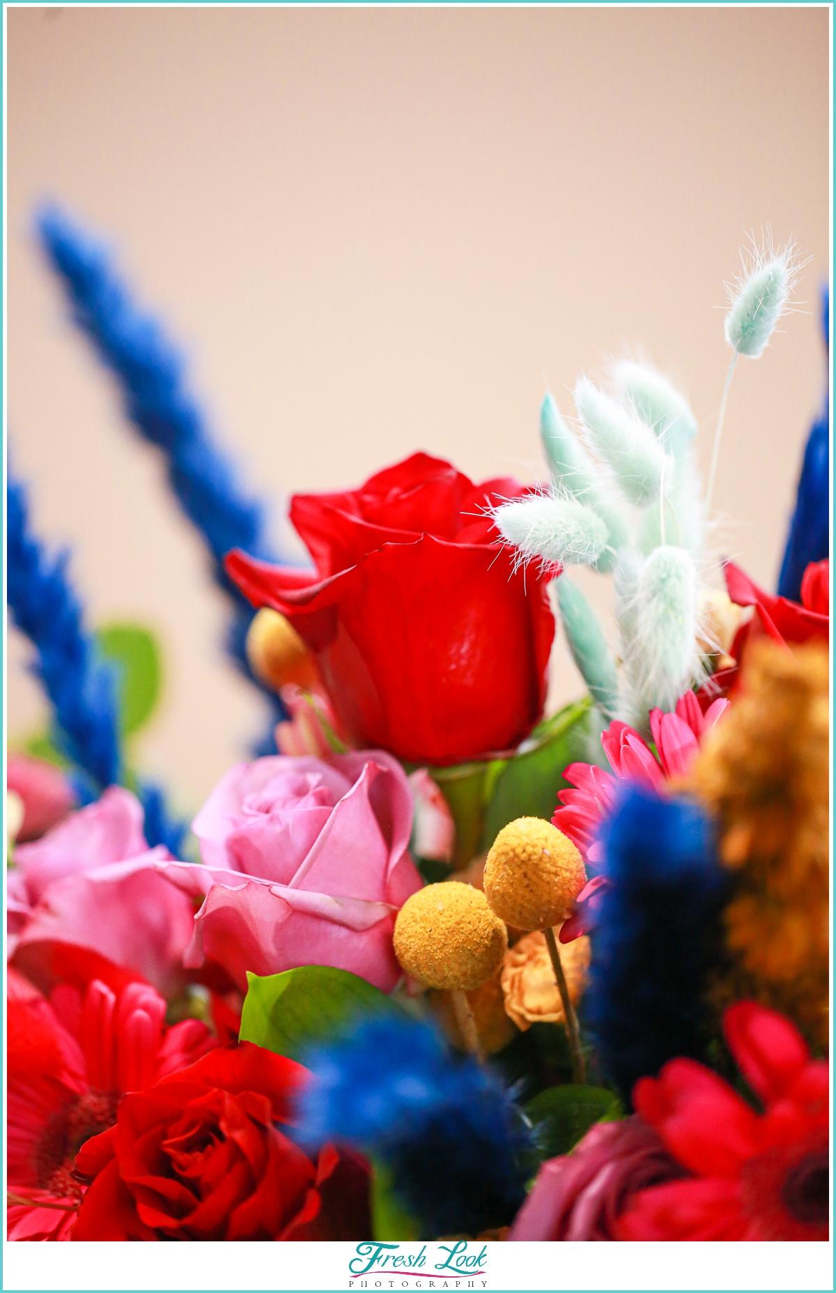 wedding florals in jewel toned colors