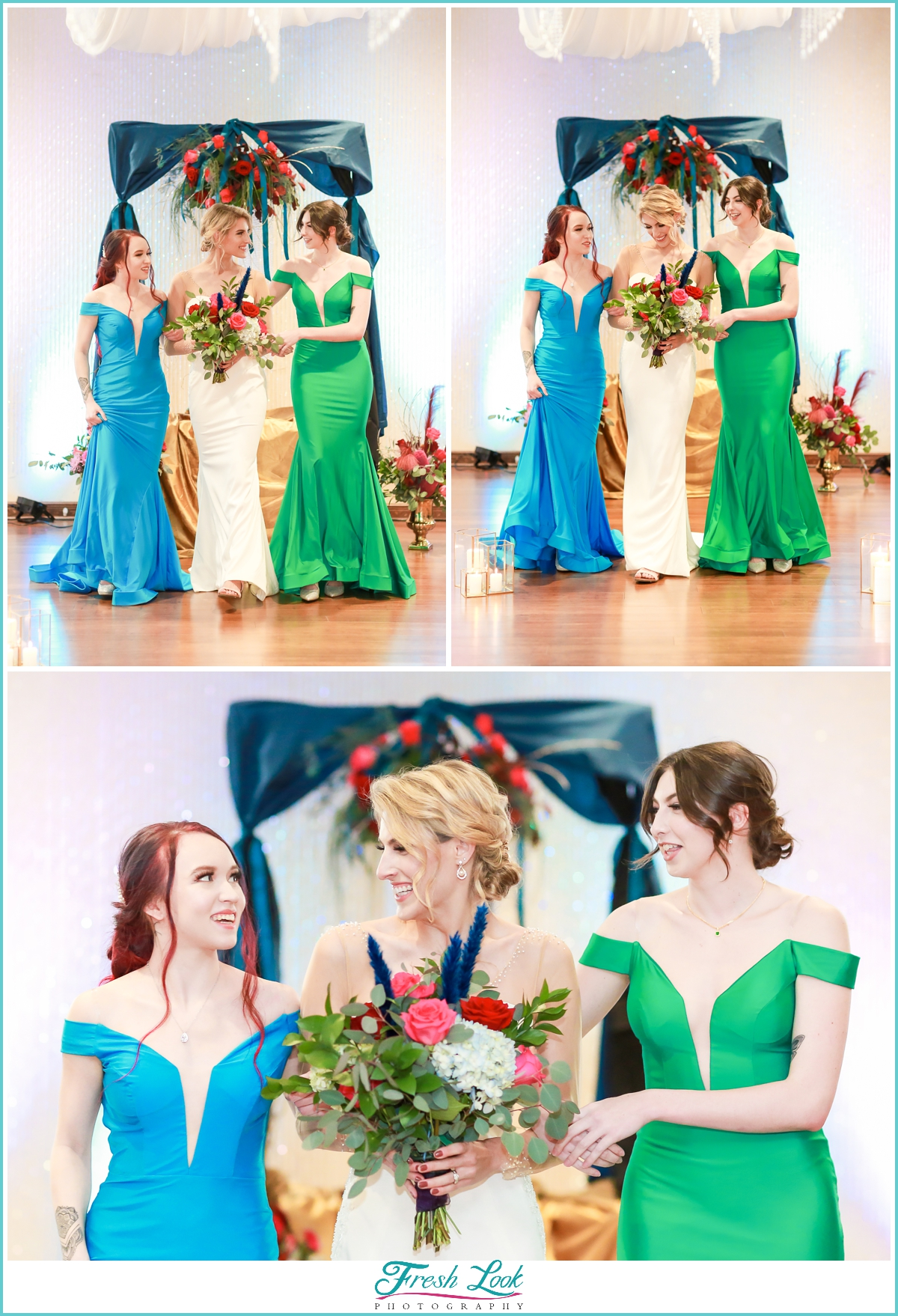 bride and bridesmaids wearing jewel toned gowns