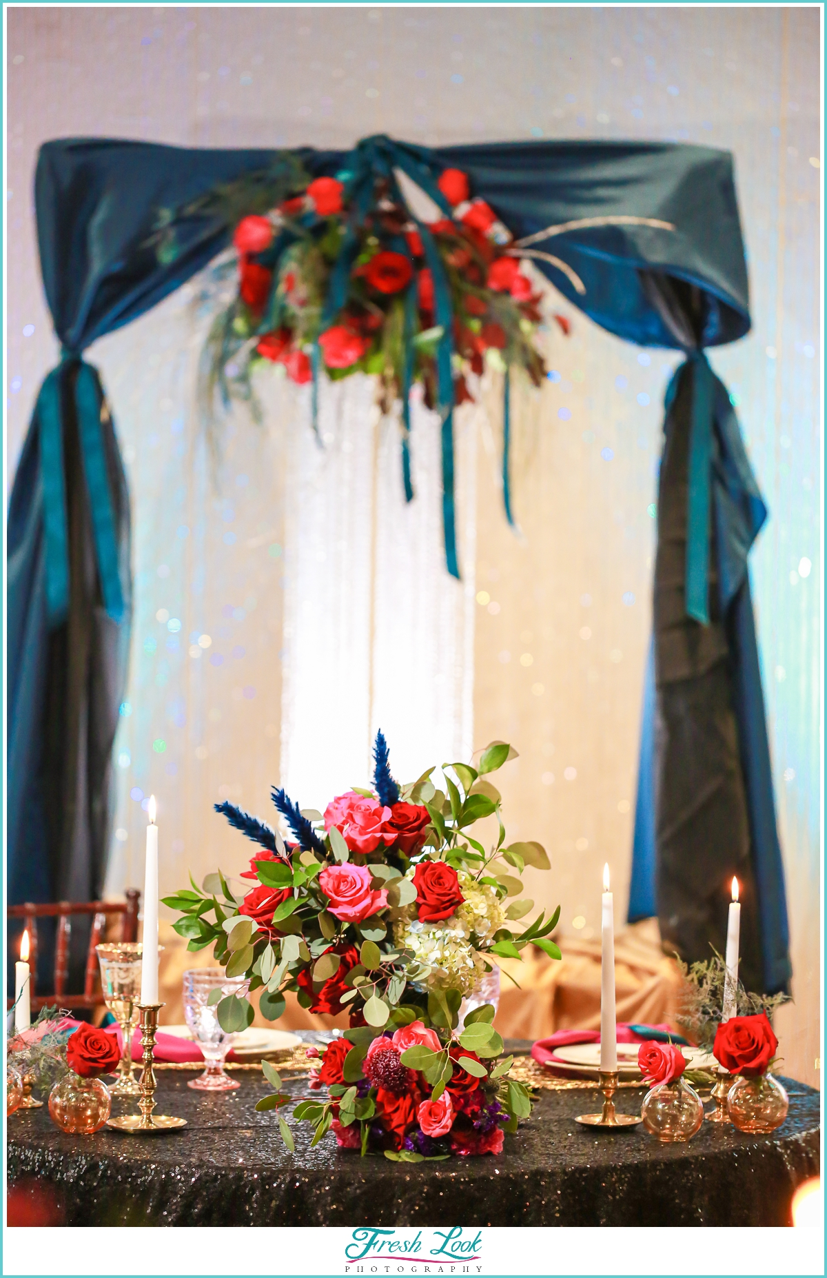 Sweetheart table with crystal chandelier